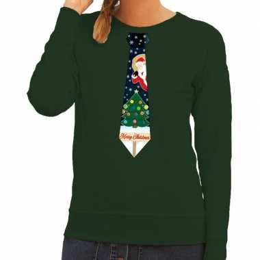 Foute kerst sweater met kerstmis stropdas groen voor dames