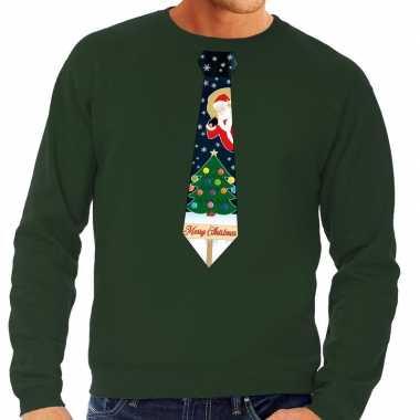 Foute kerst sweater met kerstmis stropdas groen voor heren