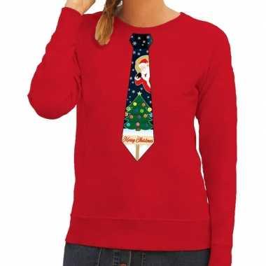 Foute kerst sweater met kerstmis stropdas rood voor dames