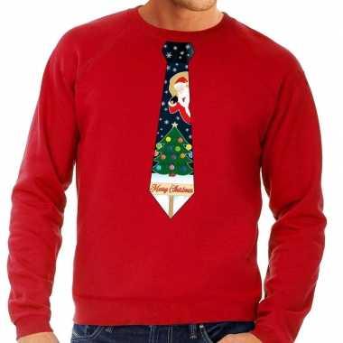 Foute kerst sweater met kerstmis stropdas rood voor heren