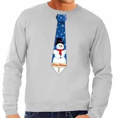 Foute kerst sweater met sneeuwpop stropdas grijs voor heren