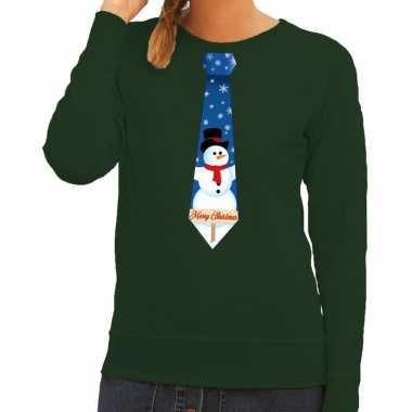 Foute kerst sweater met sneeuwpop stropdas groen voor dames
