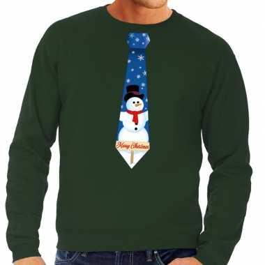 Foute kerst sweater met sneeuwpop stropdas groen voor heren