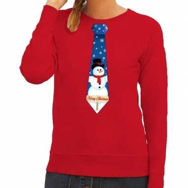 Foute kerst sweater met sneeuwpop stropdas rood voor dames