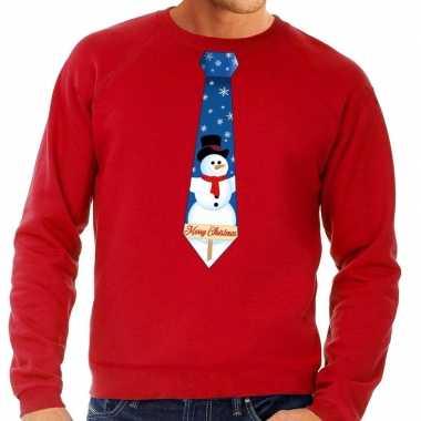 Foute kerst sweater met sneeuwpop stropdas rood voor heren