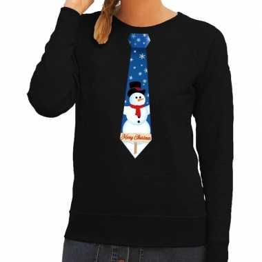 Foute kerst sweater met sneeuwpop stropdas zwart voor dames