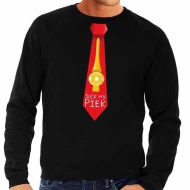 Foute kerst sweater met suck my piek stropdas zwart voor heren