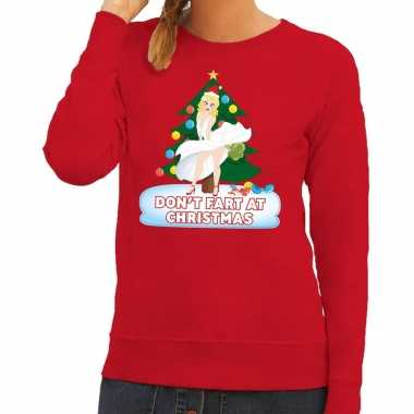 Foute kerst sweater rood dont fart at christmas voor dames