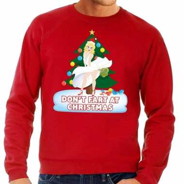 Foute kerst sweater rood dont fart at christmas voor heren