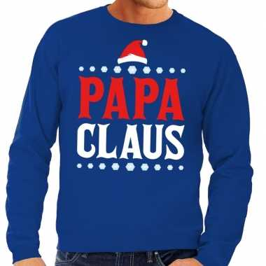 Foute kerst sweater voor vaders blauw papa claus
