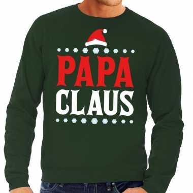 Foute kerst sweater voor vaders groen papa claus