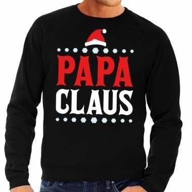 Foute kerst sweater voor vaders zwart papa claus