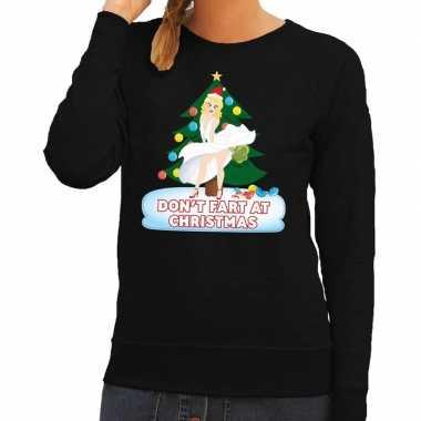 Foute kerst sweater zwart dont fart at christmas voor dames