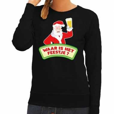 Foute kerst sweater zwart dronken kerstman met bier dames