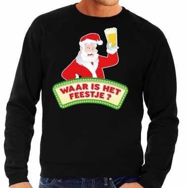 Foute kerst sweater zwart dronken kerstman met bier heren