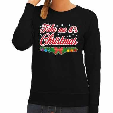 Foute kerst sweater zwart take me its christmas dames