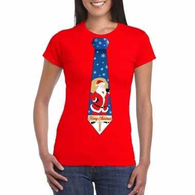 Foute kerst t-shirt met kerstman stropdas rood voor dames