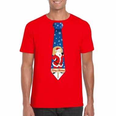 Foute kerst t-shirt met kerstman stropdas rood voor heren