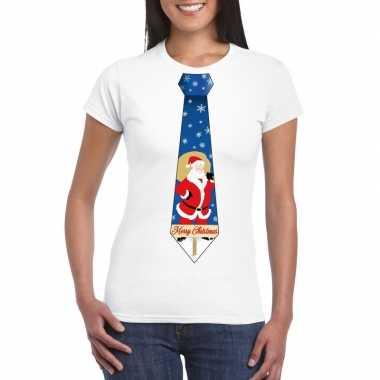 Foute kerst t-shirt met kerstman stropdas wit voor dames