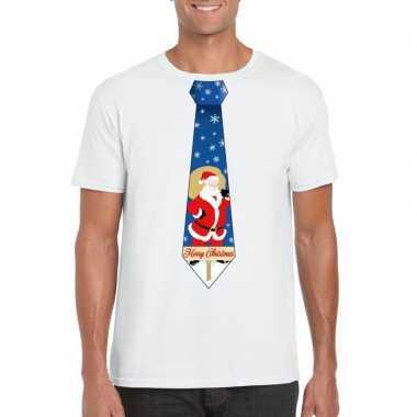 Foute kerst t-shirt met kerstman stropdas wit voor heren