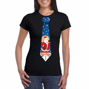 Foute kerst t-shirt met kerstman stropdas zwart voor dames