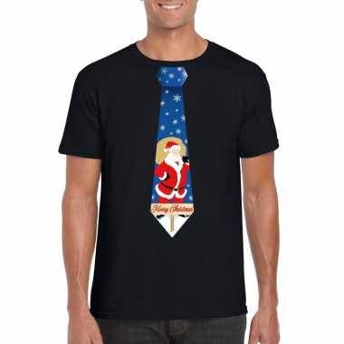 Foute kerst t-shirt met kerstman stropdas zwart voor heren