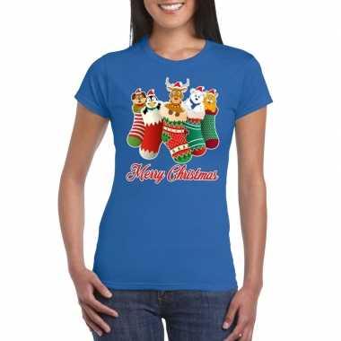 Foute kerstborrel t-shirt blauw kerstsokken met diertjes voor dames