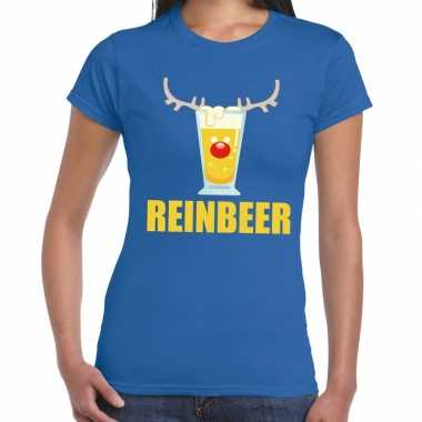 Foute kerstborrel t-shirt blauw reinbeer dames