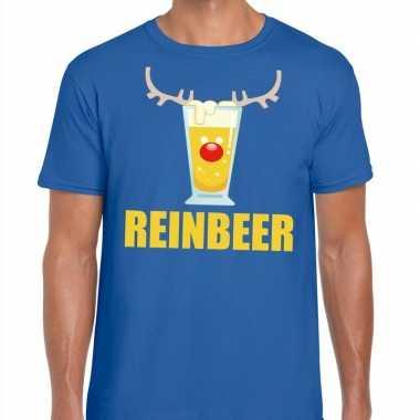 Foute kerstborrel t-shirt blauw reinbeer heren