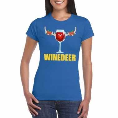 Foute kerstborrel t-shirt blauw winedeer dames