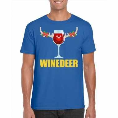 Foute kerstborrel t-shirt blauw winedeer heren