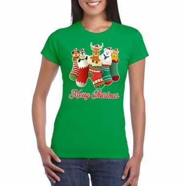 Foute kerstborrel t-shirt groen kerstsokken met diertjes voor dames