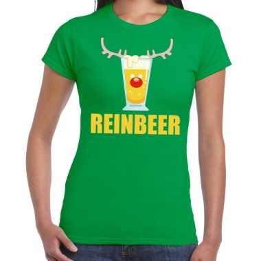 Foute kerstborrel t-shirt groen reinbeer dames