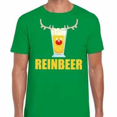 Foute kerstborrel t-shirt groen reinbeer heren