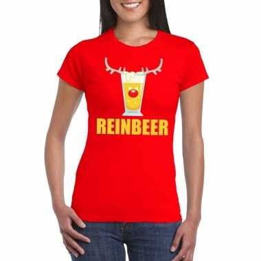 Foute kerstborrel t-shirt rood reinbeer dames