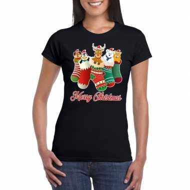 Foute kerstborrel t-shirt zwart kerstsokken met diertjes voor dames