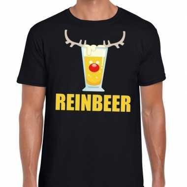 Foute kerstborrel t-shirt zwart reinbeer heren