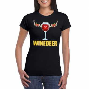 Foute kerstborrel t-shirt zwart winedeer dames