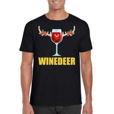 Foute kerstborrel t-shirt zwart winedeer heren