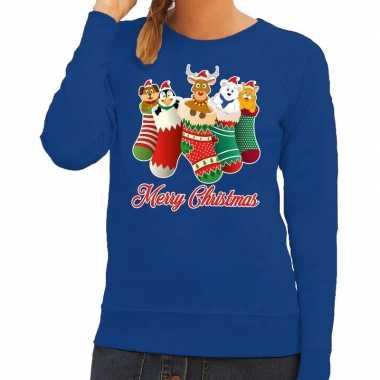 Foute kerstborrel trui blauw kerstsokken met diertjes voor dames