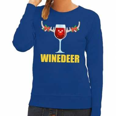 Foute kerstborrel trui blauw winedeer dames