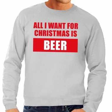 Foute kerstborrel trui grijs all i want is beer heren