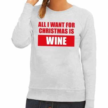 Foute kerstborrel trui grijs all i want is wine dames