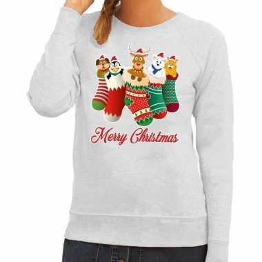 Foute kerstborrel trui grijs kerstsokken met diertjes voor dames