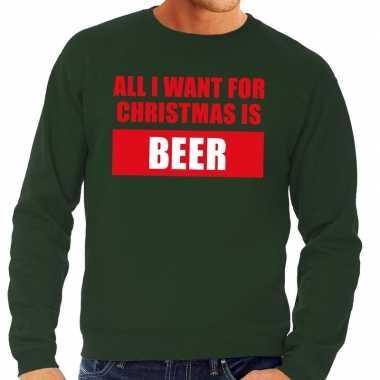 Foute kerstborrel trui groen all i want is beer heren