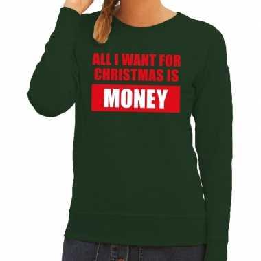 Foute kerstborrel trui groen all i want is money dames