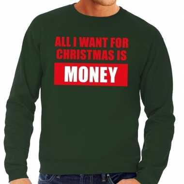 Foute kerstborrel trui groen all i want is money heren