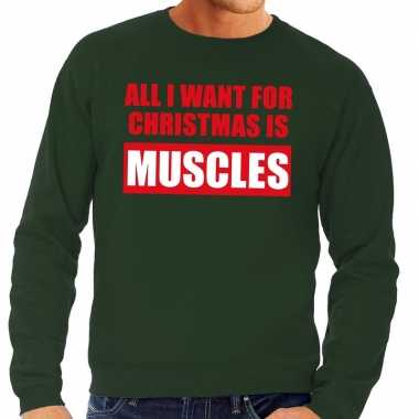 Foute kerstborrel trui groen all i want is muscles heren