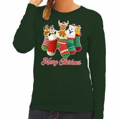 Foute kerstborrel trui groen kerstsokken met diertjes voor dames