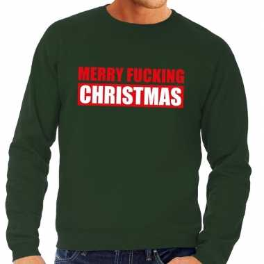 Foute kerstborrel trui groen merry fucking christmas heren